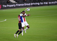15th September 2020; Vitality Stadium, Bournemouth, Dorset, England; English Football League Cup, Carabao Cup Football, Bournemouth Athletic versus Crystal Palace; Michy Batshuayi of Crystal Palace competes in the air with Jack Simpson of Bournemouth