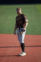 Valparaiso Crusaders first baseman Kyle Schmack (27) on defense against the Western Kentucky Hilltoppers at Nick Denes Field on March 19, 2021 in Bowling Green, Kentucky. (Brian Westerholt/Four Seam Images)