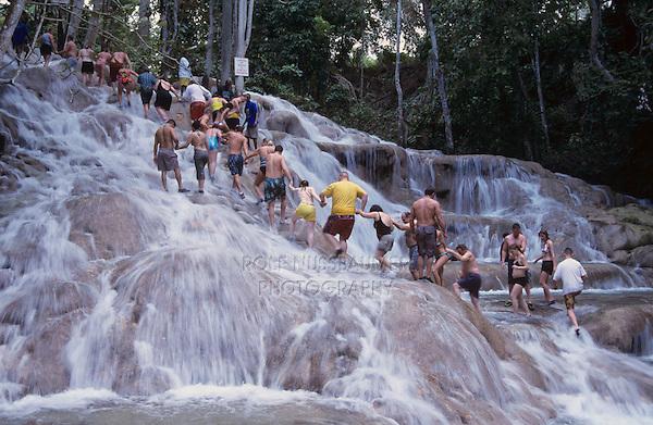 Tourists forming human chain, Dunn's River Falls, Ocho Rios, Jamaica, January 2005