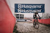 Thibau Nys (BEL) working his way back in the mud after a slip/crash<br /> <br /> Junior Men's Race<br /> Belgian National CX Championschips<br /> Kruibeke 2019