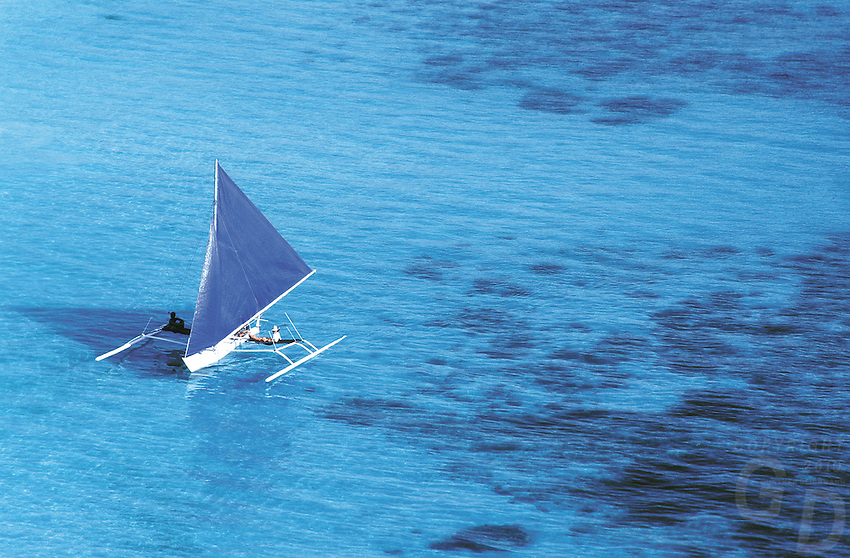 Sailboats are available for rental to go sightseeing around  Boracay  Island