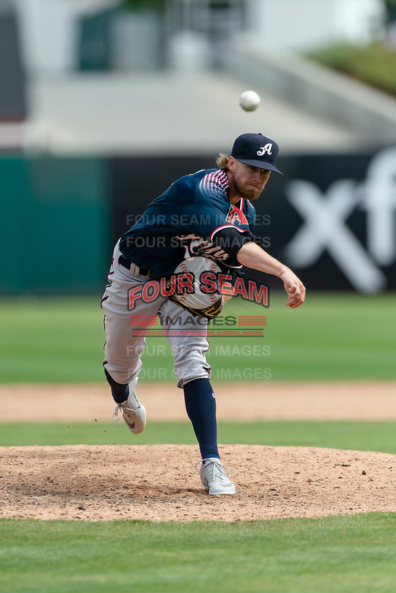 Reno Aces relief pitcher Jimmie Sherfy (13) pitching during a game against the Fresno Grizzlies at Chukchansi Park on April 8, 2019 in Fresno, California. Fresno defeated Reno 7-6. (Zachary Lucy/Four Seam Images)