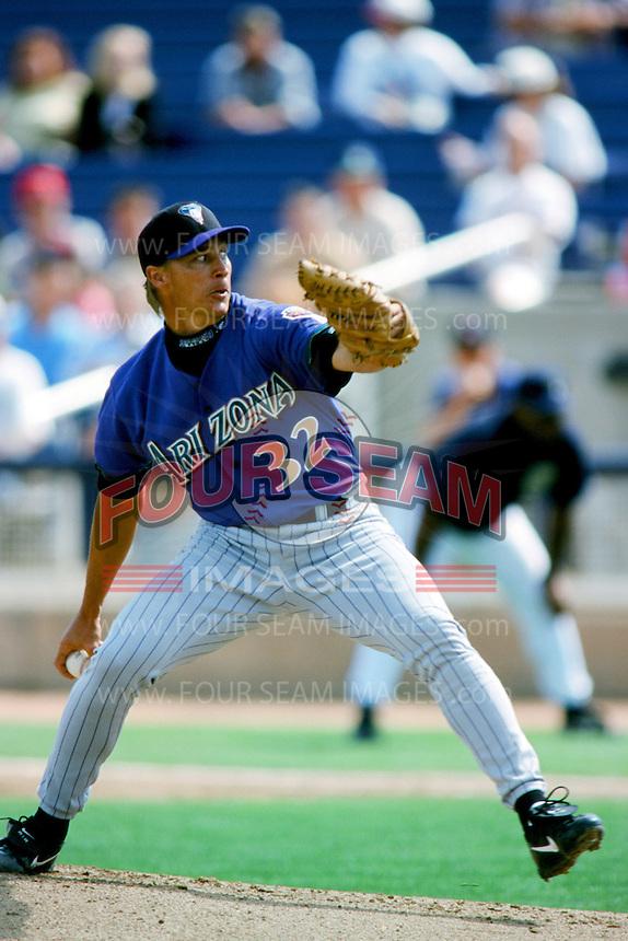 Todd Stottlemyre of the Arizona Diamondbacks pitches during a 1999 Major League Baseball Spring Training game in Phoenix, Arizona. (Larry Goren/Four Seam Images)