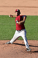 Mahoning Valley Scrappers pitcher Jose Zapata (51) delivers a pitch during a game against the Jamestown Jammers on June 15, 2014 at Russell Diethrick Park in Jamestown, New York.  Jamestown defeated Mahoning Valley 9-4.  (Mike Janes/Four Seam Images)