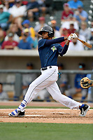 Right fielder Jose Medina (8) of the Columbia Fireflies bats in a game against the Lexington Legends on Sunday, April 23, 2017, at Spirit Communications Park in Columbia, South Carolina. Lexington won, 4-2. (Tom Priddy/Four Seam Images)