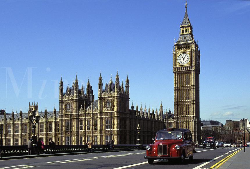London Cab crossing bridge. Parliament and London Cab.