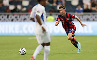 KANSAS CITY, KS - JULY 15: Matthew Hoppe #13 of the United States moves towards the box during a game between Martinique and USMNT at Children's Mercy Park on July 15, 2021 in Kansas City, Kansas.