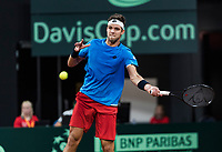 The Hague, The Netherlands, September 17, 2017,  Sportcampus , Davis Cup Netherlands - Chech Republic, Jiri Vesely (CZE)<br /> <br /> Photo: Tennisimages/Henk Koster