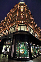 World Famous Department store Harrods all lit up and decorated for Christmas, Knightsbridge, London on 10th December 2020<br /> <br /> Photo by Keith Mayhew