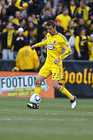 8 MAY 2010:  Eric Brunner of the Columbus Crew (23) during MLS soccer game between New England Revolution vs Columbus Crew at Crew Stadium in Columbus, Ohio on May 8, 2010. The Columbus defeated New England 3-2.