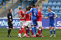 Referee Mr Robert Lewis keeps a close eye on the tight marking in the penalty area during Gillingham vs Charlton Athletic, Sky Bet EFL League 1 Football at the MEMS Priestfield Stadium on 21st November 2020