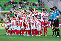 MELBOURNE, AUSTRALIA - OCTOBER 23: Melbourne Heart players greeting the fans during the A-League match between the Melbourne Heart and Gold Coast United at AAMI Park on October 23, 2010 in Melbourne, Australia. (Photo by Sydney Low / Asterisk Images)