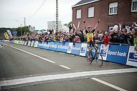 race winner Sven Nys (BEL/Crelan-AAdrinks) crossing the finish line<br /> <br /> GP Mario De Clercq 2014<br /> Hotond Cross<br /> CX BPost Bank Trofee - Ronse