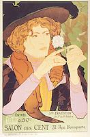 Reproduction of a poster advertising the '5th Exhibition of the Salon des Cents', Rue Bonaparte, Paris, 1894 (colour litho), Georges de Feure (1868-1943)