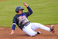 Cedar Rapids Kernels outfielder Alex Kirilloff (19) slides into third base during a Midwest League game against the Kane County Cougars on April 21, 2018 at Perfect Game Field at Veterans Memorial Stadium in Cedar Rapids, Iowa. Kane County defeated Cedar Rapids 9-2. (Brad Krause/Four Seam Images)