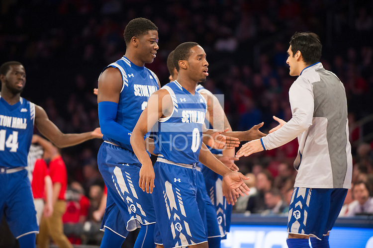 NEW YORK, NY - Sunday December 21, 2015: Seton Hall took out a big lead over the St. John's Red Storm as the two teams square off in regular season play at Madison Square Garden.