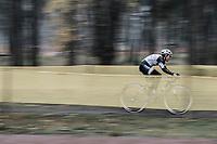 Later winner Lucida Brand (NED/Team Sunweb) leading the race.<br /> <br /> women's elite race<br /> Lampiris Zilvermeercross Mol / Belgium 2017