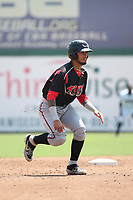 Gabriel Arias (13) of the Lake Elsinore Storm runs the bases during a game against the Inland Empire 66ers at San Manuel Stadium on June 5, 2019 in San Bernardino, California. (Larry Goren/Four Seam Images)