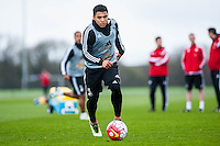 Tuesday 19 April 2016<br /> Pictured: Jefferson Montero of Swansea City in action during training.<br /> Re: Swansea City Training Session ahead of the away game against Leicester City FC