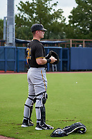 FCL Pirates Black catcher Henry Davis (32) during warmups before a game against the FCL Rays on August 3, 2021 at Charlotte Sports Park in Port Charlotte, Florida.  Davis was making his professional debut after being selected first overall in the MLB Draft out of Louisville by the Pittsburgh Pirates.  (Mike Janes/Four Seam Images)