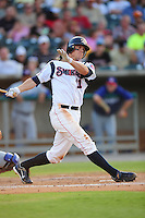 James Adduci swings at a pitch at Smokies Park in Sevierville, TN May 21, 2009 (Photo by Tony Farlow/ Four Seam Images)