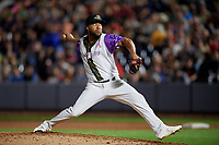 """Akron RubberDucks pitcher Henry Martinez (41) during an Eastern League game against the Erie SeaWolves on August 30, 2019 at Canal Park in Akron, Ohio.  Akron wore special jerseys with the slogan """"Fight Like a Kid"""" during the game for Akron Children's Hospital Home Run for Life event, the design was created by 11 year old Macy Carmichael.  Erie defeated Akron 3-2.  (Mike Janes/Four Seam Images)"""
