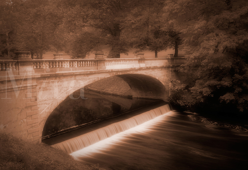 White Bridge over Crum Elbow Creek, Vanderbilt Mansion National Historic Site, Hyde Park, Dutchess County, New Yor