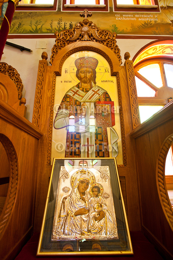 Icons of Jesus Christ and Theotokos (Mary and child), interior of the Hellas Hotel St. John of Russia Greek Orthodox Church, Fira, Santorini, Greece.