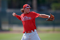 Philadelphia Phillies Alec Bohm (18) during a Minor League Spring Training game against the Toronto Blue Jays on March 29, 2019 at the Carpenter Complex in Clearwater, Florida.  (Mike Janes/Four Seam Images)