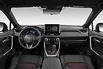 Stock photo of straight dashboard view of 2021 Toyota RAV4-Hybride-Rechargeable Premium-Plus 5 Door SUV Dashboard