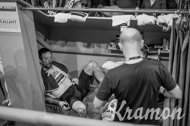 Sir Bradley Wiggins (GBR/Wiggins) exhausted <br /> <br /> 2016 Gent 6<br /> day 6