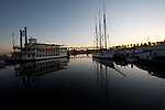 The Grand Romance Riverboat and the tall ship Tole Mour on Rainbow Harbor , Long Beach, CA