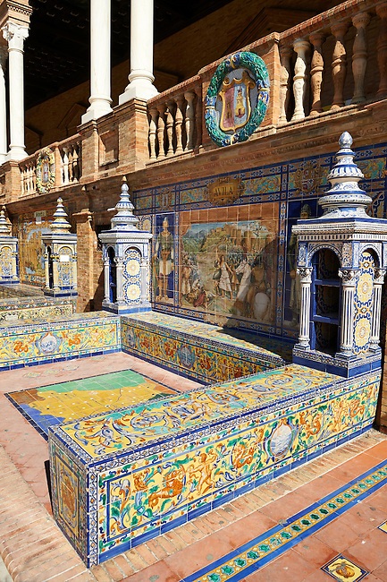 The Avilla alcove along the walls of the Plaza de Espana in Seville built in 1928 for the Ibero-American Exposition of 1929, Seville Spain