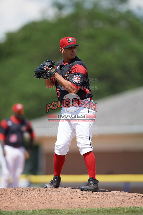 Batavia Muckdogs relief pitcher Horacio Acosta (56) gets ready to deliver a pitch during a game against the West Virginia Black Bears on June 25, 2017 at Dwyer Stadium in Batavia, New York.  West Virginia defeated Batavia 6-4 in the completion of the game started on June 24th.  (Mike Janes/Four Seam Images)