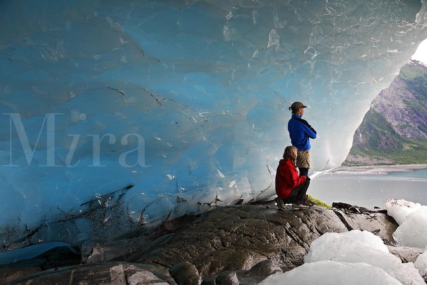Hikers at Cataract Glacier, Harriman Fiord, Prince William Sound, Chugach National Forest, Alaska.