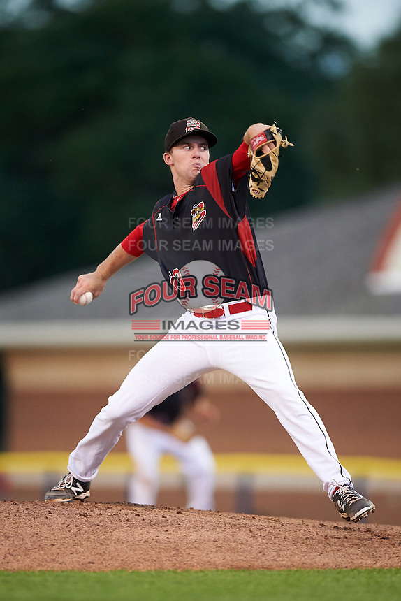 Batavia Muckdogs starting pitcher Travis Neubeck (13) during the second game of a doubleheader against the Mahoning Valley Scrappers on August 17, 2016 at Dwyer Stadium in Batavia, New York.  Batavia defeated Mahoning Valley 5-3. (Mike Janes/Four Seam Images)