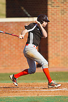 Andrew Kubuski (13) of the Bowling Green Falcons follows through on his swing against the High Point Panthers at Willard Stadium on March 9, 2014 in High Point, North Carolina.  The Falcons defeated the Panthers 7-4.  (Brian Westerholt/Four Seam Images)