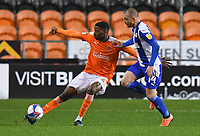 Blackpool's Marvin Ekpiteta battles with Wigan Athletic's Joe Garner<br /> <br /> Photographer Dave Howarth/CameraSport<br /> <br /> The EFL Sky Bet League One - Blackpool v Wigan Athletic - Tuesday 3rd November 2020 - Bloomfield Road - Blackpool<br /> <br /> World Copyright © 2020 CameraSport. All rights reserved. 43 Linden Ave. Countesthorpe. Leicester. England. LE8 5PG - Tel: +44 (0) 116 277 4147 - admin@camerasport.com - www.camerasport.com