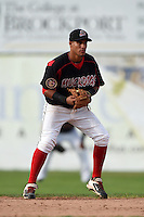 Batavia Muckdogs second baseman Rony Cabrera (40) during a game against the Auburn Doubledays on August 31, 2014 at Dwyer Stadium in Batavia, New York.  Batavia defeated Auburn 7-6.  (Mike Janes/Four Seam Images)