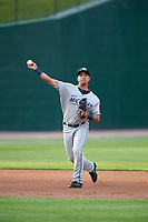 West Michigan Whitecaps shortstop Anthony Pereira (9) throws to first base during a game against the Peoria Chiefs on May 9, 2017 at Dozer Park in Peoria, Illinois.  Peoria defeated West Michigan 3-1.  (Mike Janes/Four Seam Images)
