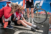 Noelle Buri (SUI) was involved in a late crash in the Junior Women road race finish straight made lots of victims and was resposible for lots of (decompression) emotions once behind the line...<br /> <br /> from Doncaster to Harrogate (86km)<br /> 2019 Road World Championships Yorkshire (GBR)<br /> <br /> ©kramon