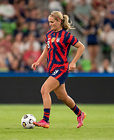 AUSTIN, TX - JUNE 16: Lindsey Horan #9 of the USWNT dribbles during a game between Nigeria and USWNT at Q2 Stadium on June 16, 2021 in Austin, Texas.