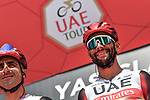 Fernando Gaviria (COL) UAE Team Emirates at sign on before the start of Stage 7 of the 2021 UAE Tour running 165km from Yas Island to Abu Dhabi Breakwater, Abu Dhabi, UAE. 27th February 2021.<br /> Picture: LaPresse/Gian Mattia D'Alberto   Cyclefile<br /> <br /> All photos usage must carry mandatory copyright credit (© Cyclefile   LaPresse/Gian Mattia D'Alberto)