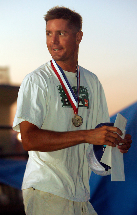 Top overall point scorer Matt Nunnally from Bradley Beach during the awards ceremony at the First Annual Asbury Park Beach Bar Lifeguard Competition held at the 3rd Avenue beach in Asbury Park.  ASBURY PARK, NJ  8/4/07  8:21:47 PM  PHOTO BY ANDREW MILLS