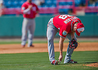 29 February 2016: Washington Nationals pitcher Jonathan Papelbon scrapes some dirt out of his cleats during an inter-squad pre-season Spring Training game at Space Coast Stadium in Viera, Florida. Mandatory Credit: Ed Wolfstein Photo *** RAW (NEF) Image File Available ***