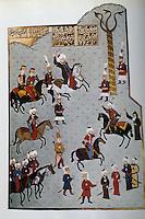 Hagia Sophia:  Mohammed II and his attendants riding jubilantly in the Hippodrome.  Illuminated manuscript.