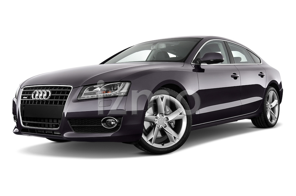 Low aggressive front three quarter view of a 2009 - 2011 Audi A5 Ambition Luxe Sportback 5-Door Hatchback.