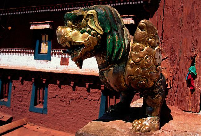 Roof ornament at Red Palace of Potala Palace, Dalai Lamas winter residence, Lhasa, Tibet Autonomous Region, China, Asia
