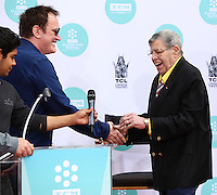 HOLLYWOOD, LOS ANGELES, CA, USA - APRIL 12: Quentin Tarantino, Jerry Lewis at the Jerry Lewis Hand And Footprint Ceremony during the 2014 TCM Classic Film Festival held at the TCL Chinese Theatre IMAX on April 12, 2014 in Hollywood, Los Angles, California, United States. (Photo by Xavier Collin/Celebrity Monitor)