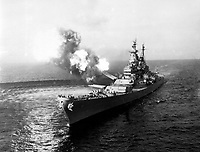 A 16-inche salvo from the USS Missouri at Chong Jin, Korea, in effort to cut Northern Korean communications.  Chong Jin is only 39 miles from the border of China.  October 21, 1950.  (Navy)<br /> NARA FILE #:  080-G-421049<br /> WAR & CONFLICT BOOK #:  1444
